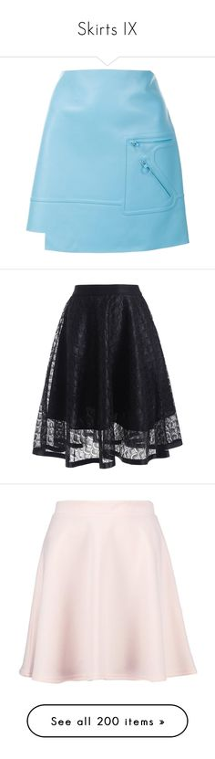 """Skirts IX"" by caili ❤ liked on Polyvore featuring skirts, mini skirts, versace, blue, asymmetrical hem skirt, blue mini skirt, short blue skirt, versace skirt, blue leather skirt and transparent skirt"