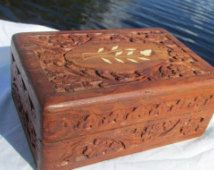 Teak Wood Trinket Inlay Hinged Jewelry Box jewelry Pinterest