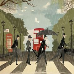 Abbey Road - The Beatles - London Illustration Abbey Road, London Illustration, Illustration Art, Umbrella Art, Famous Photos, Singing In The Rain, London Art, Vintage Travel Posters, London England