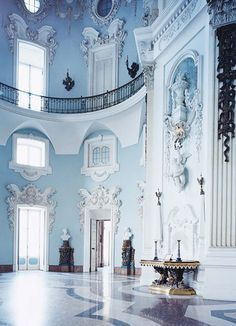 When travelling to Lago Maggiore, don't miss the ornate decor of the Palazzo Borromeo on Isola Bella. When travelling to Lago Maggiore, don't miss the ornate decor of the Palazzo Borromeo on Isola Bella. Baby Blue Aesthetic, Light Blue Aesthetic, Beautiful Architecture, Art And Architecture, Palazzo, Everything Is Blue, Pastel Blue, New Wall, Porches