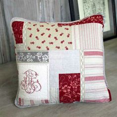 Red Vintage Patchwork Quilted Cushion
