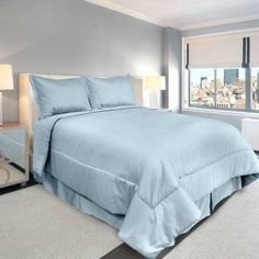 Veratex Supreme Sateen 500-Thread-Count Solid Bedding Comforter Set, Blue