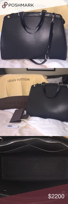 """Authentic Louis Vuitton Brea GM Epi Noir Some signs of wear, see pic of stain inside and corner of the back of the bag (and at that corner, there is a little creasing near that foot on the base of the bag, but you'd have to be really looking for it to notice it). Some scratches on the feet. This is a GORGEOUS and very sturdy bag that's sure to last a lifetime. It can be carried as a business bag or out shopping. It's very roomy. 15"""" w x 11"""" h x 5.5"""" d. Handles 4.75"""" drop. Shoulder strap is…"""