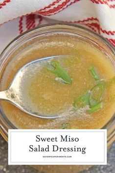 Sweet Miso Ginger Dressing - A Yummy Japanese Ginger Dressing Japanese Ginger Dressing, Miso Ginger Dressing, Japanese Salad, Japanese Food, Miso Salad Dressing, Ginger Salad Dressings, Salad Dressing Recipes, Cooking Sauces, Cooking Recipes