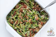 Oven dish with green beans - Lowcarbchef.nl - This low-carb oven dish with green beans with bacon is easy to make and tastes great. A perfect sid - Healthy Low Carb Recipes, Quick Healthy Meals, Green Beans With Bacon, Clean Eating Plans, Diner Recipes, Oven Dishes, Food Inspiration, Food And Drink, Cooking