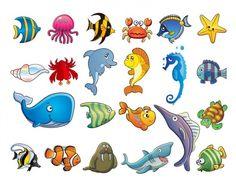 Marine animales dibujos animados set - vector EPS