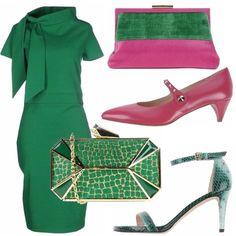 Due opzioni per questo abito verde smeraldo, colore non facilissimo da indossare ma che con il make-up giusto, ci renderà uniche e particolari. L'abito è a tubino, con collo a sciarpa molto bon ton se abbinato a clutch rigida e sandalo pitonato. Potrebbe andar bene anche per una cerimonia di giorno. Invece, se preferite la scarpa ciclamino più bassa e la pochette bicolor sarete perfette per la riunione in ufficio.
