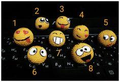 Emoji keychain Crochet smiley charm Emoticons от OlchussToys