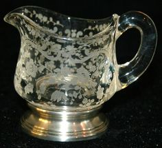 Cambridge Chantilly Etched Glass Creamer Sterling Silver Base Flower Swag Floral #Cambridge