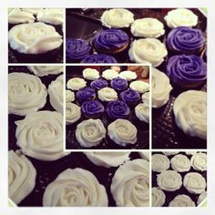 Flower cupcakes Bridal shower Purple and white