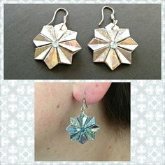 My first pair of origami earrings.  Made using the teabag folding method (8 pieces.) #Origami #Jewelry --> link to clearer picture: http://pinterest.com/pin/257268197436377812/