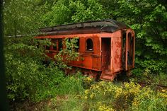 An old abandoned railcar along the Mt. Rainier Scenic Railroad line in Mineral, Washington.