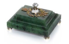 A Fabergé nephrite bellpush with jewelled gold and enamel mounts, circa 1900