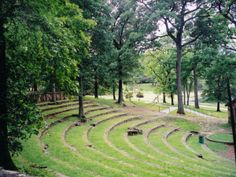 Avondale Park Garden Theatre, Birmingham, AL | Part of a municipal works program intended to employ locals during the onset of the Great Depression this open-air amphitheater was designed by landscape architect Rubee Pearse on the north side of Park Mountain. The gently sloping theater is enclosed and buttressed by native sandstone retaining walls and encircled by low stone risers and grass covered steps that provide seating. http://tclf.org/landscapes/avondale-park-garden-theatre