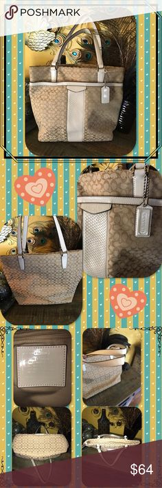 """Coach Signature Stripe Jacquard Tote Signature fabric-#M1392-F31311Inside zip, cell phone and multifunction pockets Zip-top closure, fabric lining Outside open pocket Handles with 8 1/4"""" drop 12 3/4"""" (L) x 10 3/4"""" (H) x 4 1/4"""" (W) This is a signature product MSRP-$298!! Coach Bags Totes"""
