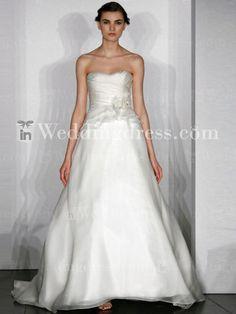strapless organza A-line gown,soft curved neckline wedding dress