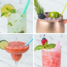 Summer Mocktails 4 Ways No Alcohol? No Worries. We've Got You Covered With These Refreshing Summer Mocktails Refreshing Drinks, Summer Drinks, Fun Drinks, Cold Drinks, Healthy Drinks, Eating Healthy, Healthy Recipes, Non Alcoholic Drinks, Cocktail Drinks