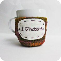 Hobbit funny coffee cozy mug cozy tea cup crochet handmade cover on Etsy, $15.00