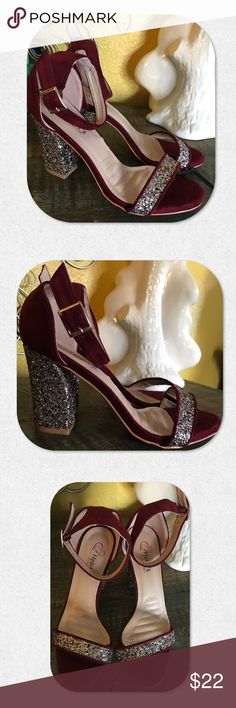"""Hearts Condition Party Ankle Strap Blingy Sandals NWT. These blingy heels would be PERFECT for a party or night on the town!!! 4"""" chunky heel gives a lot of stability for your dance moves!  Ankle strap makes these sandals very sexy. Be sparkly in the night lights with the heels and strap across the top! Beautiful burgundy color. Size 6 1/2. Heart's Condition Shoes Sandals"""