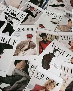 A pile of Vogue magazines. A pile of Vogue magazines. You can find Magazines and more on our website.A pile of Vogue magazines. A pile of Vogue magazines. Boujee Aesthetic, Aesthetic Collage, Aesthetic Vintage, Aesthetic Pictures, Aesthetic Bedroom, Aesthetic Black, Vogue Vintage, Photo Vintage, Fashion Vintage