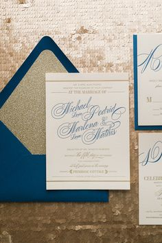 GIANNA Suite Glitter Package, formal wedding invitation in navy and gold letterpress. Comes with a glitter envelope liner and glitter belly band. Perfect for formal fall weddings.