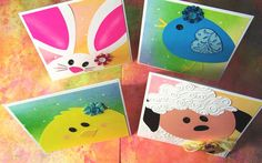 Set of 4 Spring Faces note cards with handmade scalloped envelopes