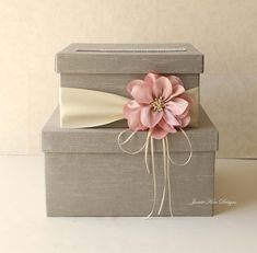 【 MODEL: MADEIRA 】  This wedding card box is beautifully made with silk shantung, satin ribbon, silk flower and rhinestones. Rhinestones around the card slot give the box a more luxurious look. I ONLY USE HIGH QUALITY REAL RHINESTONES! :)  ♦ COLOR The box and premium quality double faced satin ribbon come in colors of your choice.  The Silk Flower come in either colors: nude pink (shown in the 1st photo), lavender pink (2nd photo), white (3rd photo), light pink, coral, fuschia, red…