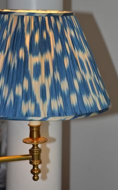 Hand made, silk lined blue/cream hand woven silk ikat shade from www.susandeliss.com