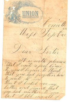 Soldier's letter to his sister- front side