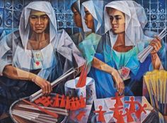 Vicente Silva Manansala (January 1910 - August was a Philippine cubist painter and illustrator. Manansala was born in. Filipino Art, Philippine Art, Philippines Culture, Simple Acrylic Paintings, Vintage Artwork, Various Artists, Beautiful Paintings, African Art, Figurative Art
