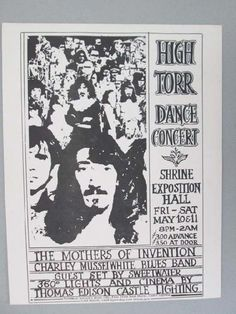 Original concert handbill for Frank Zappa with the Mothers of Invention at The Shrine Auditorium for The High Torr Dance in San Francisco, C...