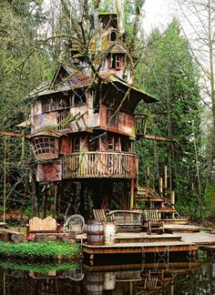 Redmond Treehouse.One of the most astonishing treehouses ever built. The palace constructed around a broad-leafed maple tree looks like str...