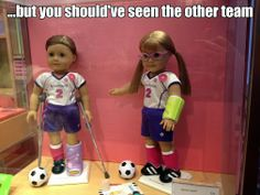 ...but you should've seen the other team (Taken at the Columbus, Ohio American Girl Doll store)