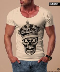 a400a1dc Items similar to Creepy Skull T-shirt Unique Mens Tee RB Design Graphic Tee  High Quality Stretch Cotton T shirt Slim Fit Tee Mens Unique Gift Last King  ...