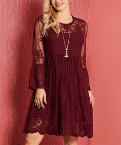 Suzanne Betro Dresses Burgundy Embroidered Lace Mesh A-Line Dress - Women & Plus Vestidos Country, Country Dresses, Holiday Party Dresses, Lace Design, Embroidered Lace, Wardrobes, Her Style, Night Out, Ideias Fashion