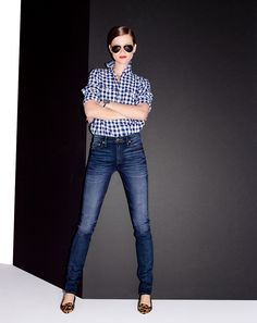 uniform  J.Crew women's gingham utility shirt and Point Sur Hightower straight jean in evansville wash. To preorder call 800 261 7422 or email erica@jcrew.com.