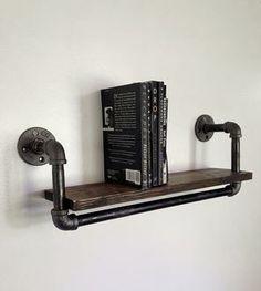 Reclaimed Wood & Pipe Book Shelf – Large
