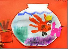 handprint goldfish in watercolor bowls