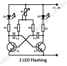 2 led flashing circuit schematic