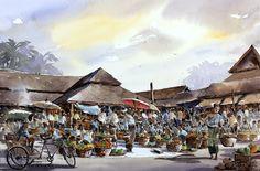 Kad Luang, old Chiang Mai, Thailand Watercolor 38 x 56 cm. สีน้ำบรรยากาศกาดหลวง เชียงใหม่ในอดีต ที่เขียนไว้ 4 รูป 4 มุม นี่ก็เป็นอีกรูปหนึ่งที่นำมาให้ชม  Watercolor by Thanakorn