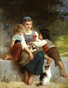 The New Pets - Emile Munier (1840 - 1895)