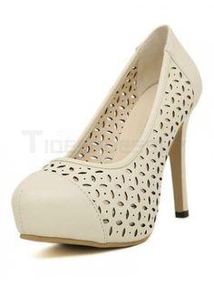 Elegant Apricot Spike Heel PU Leather Woman's High Heels
