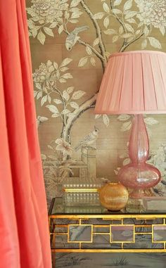 爱 Chinoiserie? 爱 home decor in chinoiserie style Wallpaper Wall, Chinoiserie Wallpaper, Chic Wallpaper, Beautiful Wallpaper, Gracie Wallpaper, Coral Wallpaper, Bedroom Wallpaper, Wallpaper Panels, Home Interior