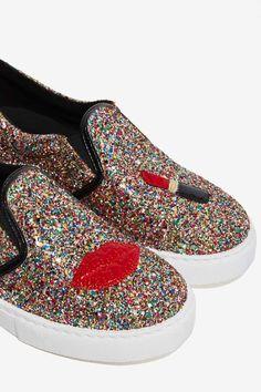 6df05f38b7cd Chiara Ferragni Glitter Lips Slip-On Sneaker - Flats. Women's shoes latest