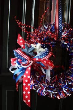 4th of July ribbon wreath idea