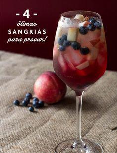 Sangrias refrescantes para a primavera (com pêssegos e cava, com vinho tinto e grapefruit, com vinho branco e a sangria clássica.)