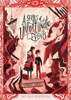 A Series of Unfortunate Events by Lemony Snicket - cover art by Karl James Mountford Book Cover Art, Book Cover Design, Book Art, Unfortunate Events Books, Les Orphelins Baudelaire, Beatrice Baudelaire, Roman Jeunesse, Edition Jeunesse, Plakat Design