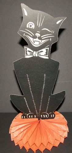 Vintage Cardboard Black Cat Halloween Decoration Standing Winking Honeycomb USA   eBay