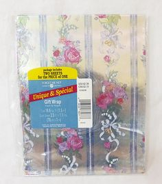 Vintage silver floral american greetings gift wrap two sheets sealed by MashliDesign on Etsy