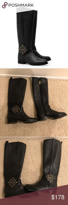 b36fdb5a2e5a Tory Burch Amanda Riding Boot Black Leather 7 Perfect condition. An  exclusive style